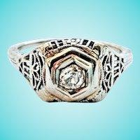 18K Filigree Old Cut Diamond Solitaire Ring