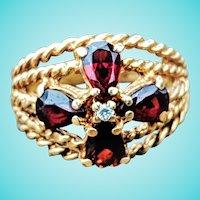 Pyrope Garnet Diamond Wide Cigar Band Rope Motif Ring 14K