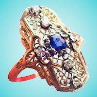 Lacy Filigree Sapphire Old Cut Diamond Stoplight Ring 14K