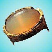 Swiss Kurt Neukomm Peach Moonstone 18K Artisan Ring