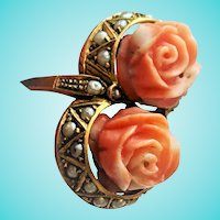 Carved Salmon Coral Rose Seed Pearl Toi et Moi Ring 14K