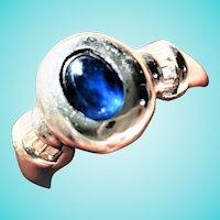 Natural Sapphire Cabochon Baguette Diamond 18K White Gold Ring