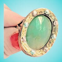 Nephrite Seafoam Green Jade Large Engraved Floral Multi Tone Gold Ring 14K