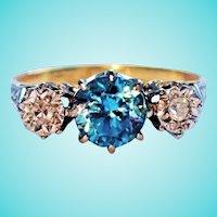 Blue Zircon Diamond Three Stone Trilogy Ring 18K Platinum