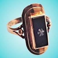 Art Deco Onyx Signet Star Rose Gold 14K Skyscraper Ring