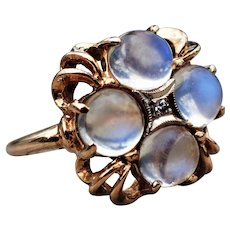 Retro Blue Moonstone Diamond 14K Cluster Ring