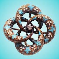 Victorian Turquoise Enamel Old Mine Cut Diamond 14K Love Knot Brooch Pin