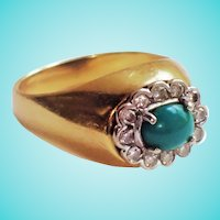 Natural Green Turquoise Old Cut Diamond Dome Ring 18K