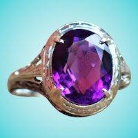 Art Deco Natural Deep Purple Amethyst 18K Filigree Statement Ring
