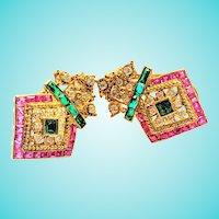 Boho Chic 14K Emerald Ruby Diamond Arrow Shaped Earrings