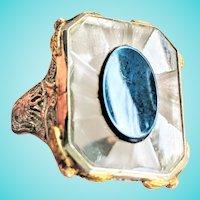 Camphor Glass Peacock Blue Teal Enamel 14K Filigree Ring