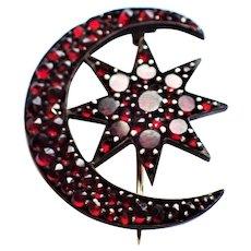 Victorian Bohemian Garnet 8 Pointed Star Crescent Moon Brooch Pin