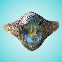 Art Deco Old European Cut Marquise Aquamarine Filigree Birthstone Solitaire Ring