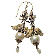 Victorian Natural Pearl Grape Motif Gold Dangle Drop Earrings