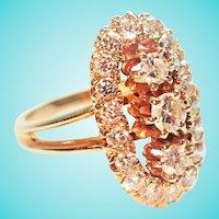 1.48 TCW Fiery Diamond Stoplight Oval Ring 14K Alternative Engagement