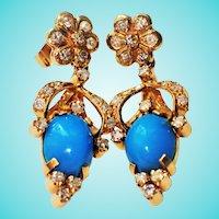 Victorian Style 1960s Custom Natural Turquoise Diamond 14K Drop Earrings