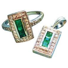 Emerald Diamond 14K Pendant Ring 2 Piece Matching Set