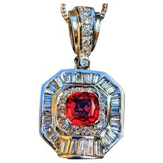 Rare Red Orange Topaz Baguette Diamond 18K Pendant Necklace