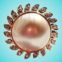 Huge Mabe Pearl Diamond Sun Motif 14K Cocktail Ring