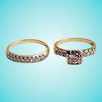 1950s Two Ring Bridal Set Diamond Engagement and Wedding Band 14K