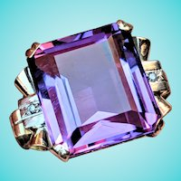 1940s Big Amethyst Diamond 14K Statement Ring 14K