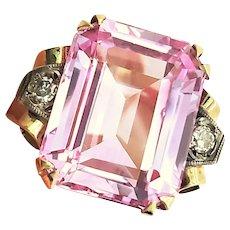 Art Deco Light Pink Sapphire Diamond 18K Ring