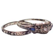 Lohengrin 1930s Diamond Sapphire 18K 2 Ring Bridal Set