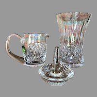 3 pieces Waterford - Crystal Cut Glass - Vase Ring Holder and a  Creamer (never used)