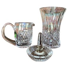 3 pieces Waterford Crystal Vase Creamer  Ring Holder