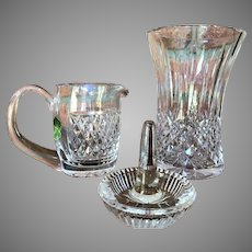 3 pieces Waterford Crystal Vase  Creamer (never used) and a Ring Holder