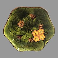 "MUST SEE Lg. 10"" Majolica Bowl Tray c.1949 Cico Germany Hand Painted Geraniums"