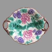"c.1880 12"" Etruscan Majolica Tray Platter Griffin Smith and Hill Geraniums Loop Handles"