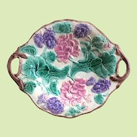 """c.1880 12"""" Etruscan Majolica Tray Platter Griffin Smith and Hill Geraniums Loop Handles"""