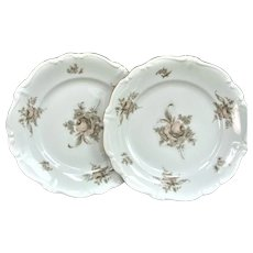 """Two 1940's 7 3/4"""" Haviland Salad Plate Gold SEPIA ROSE"""