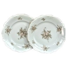 "Two 1940's 6 1/4"" Haviland Limoges Dessert Plate / Cake Plate / Plate Gold SEPIA ROSE"