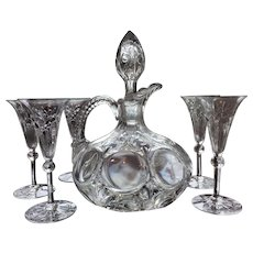 Very Rare SHOW STOPPER 19th c. Cordial Decanter Ewer  Five Glasses