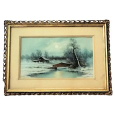 Harold Morse Ward PASTEL Cabin by the Lake c.1920  Original Frame