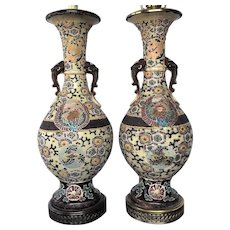 """LAMPS  1920's  17"""" Moriage Elephant Handles  Nippon Outstanding"""