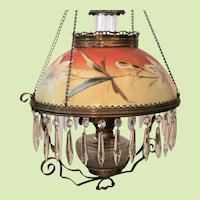 c.1880's Victorian  Hanging Lamp  Hand Painted  Cut Prisms AUTHENTIC All Complete Frill Frame