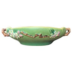 "10 1/2"" Roseville Pottery Bowl  Apple Blossom  1940-50"