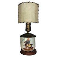1940's Glass Lamp w/Original Shade HAND PAINTED Coastal Nautical Maritime