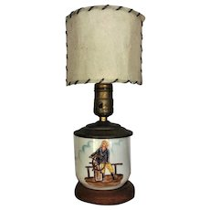 1940's Glass Lamp w/Original Shade HAND PAINTED Coastal Nautical Maritime