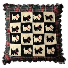 "RARE Retired 22"" Mackenzie Childs Pillow HOLIDAYS Scottish Terrier Dog"