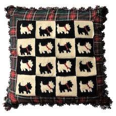 "RARE 22"" Retired Mackenzie Childs Pillow Scottish Terrier Dog VINTAGE ""Think Christmas"""