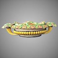 "21"" Candleholder Agostinelli Dal Pra Majolica Grand Bowl Italy c.1900"