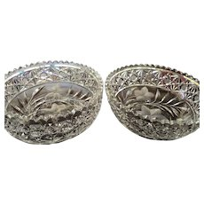 """PAIR circa 1905 9""""x4"""" Pairpoint Bowl Cut Glass American Brilliant - Both together weigh 9 1/2 lbs."""
