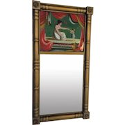 1820-30 Federal Mirror REVERSE PAINTING Wood Gesso Frame