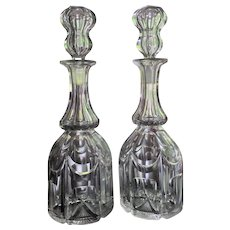 1840's Pair Decanter Blown Cut Anglo RARE FORM