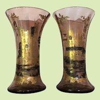 MOSER c.1885 Vase Smokey Topaz Gold Silver Enameled Bohemian Ludwig Moser RARE PAIR