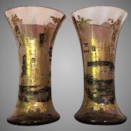 MOSER c.1885 Vase Gold Silver Enameled Bohemian Ludwig Moser